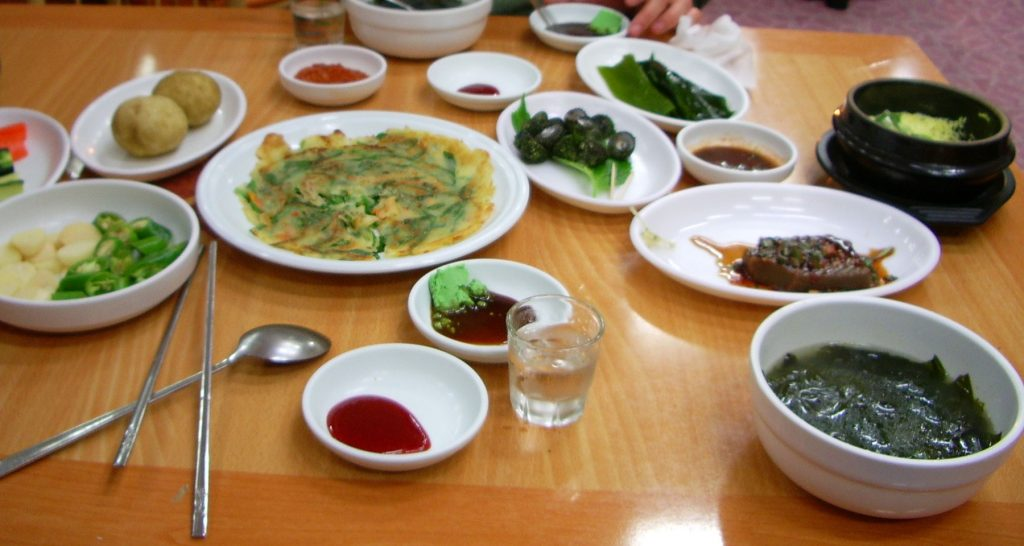 A selection of Korean food on a table
